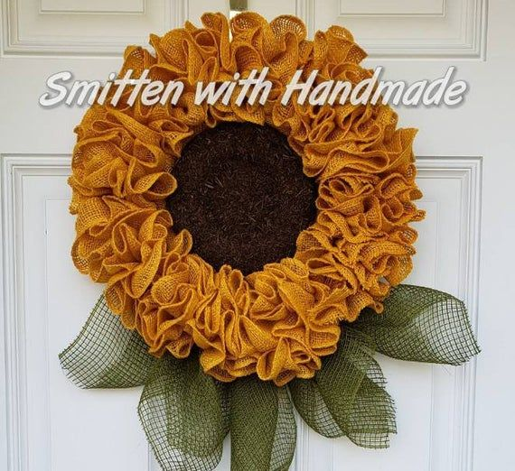 Photo of Items similar to Burlap Sunflower Wreath, Small Burlap Sunflower Wreath, Sunflower Door Hanger, Kitchen Sunflower, Burlap Sunflower, Fall Sunflower Wreath on Etsy