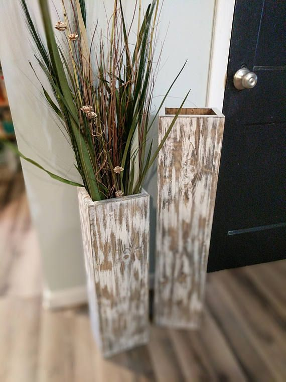 Wide 32 And 24 Tall Rustic Floor Vases Wooden Vases Home