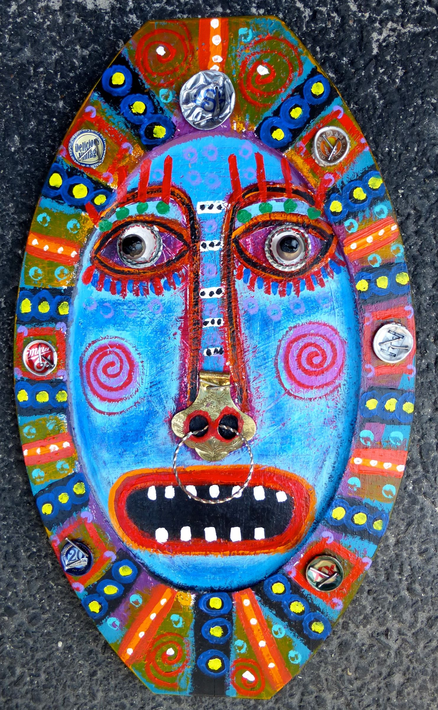 """""""Nose Ring Optional"""" a mixed media creation on wood by Tracey Ann Finley"""