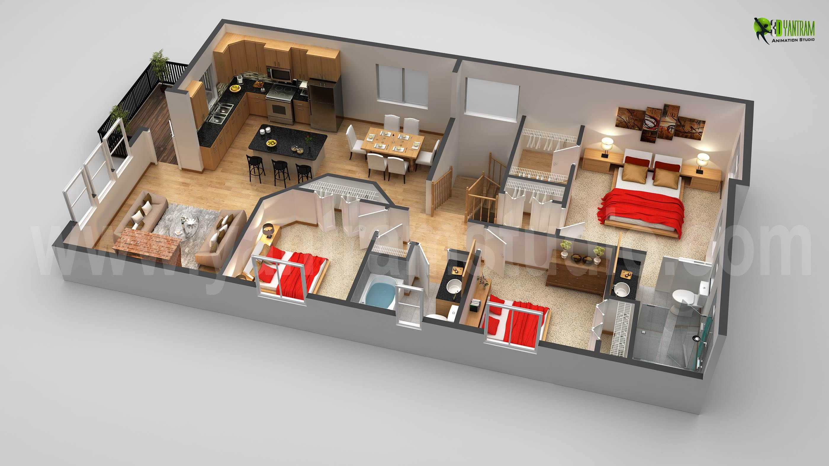 3d First Floor Plan Design Rendering Animation Floorplans House Home Modern Floor Plans House Design House Plans