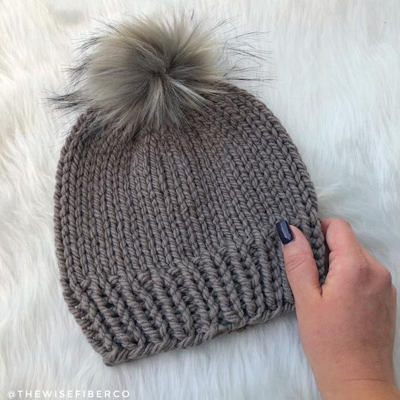 a58ed191b6a Chunky Dark Taupe Women's Knit Fall & Winter Beanie Hat w/ Faux Fur Pom  Pom, Neutral Outerwear, Stoc