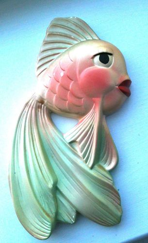 Vintage 1964 Miller Studio Chalkware Fish With Red Lips Green Pink
