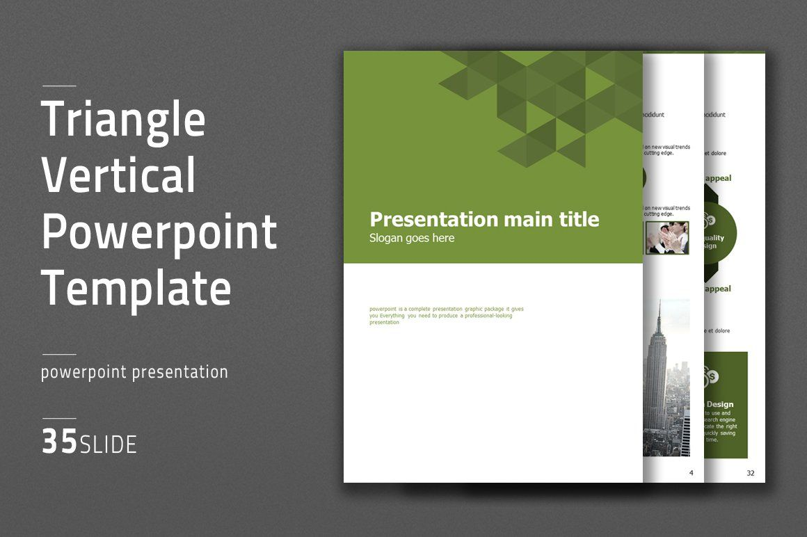 Triangle Vertical Ppt Template Ad Ad Color White