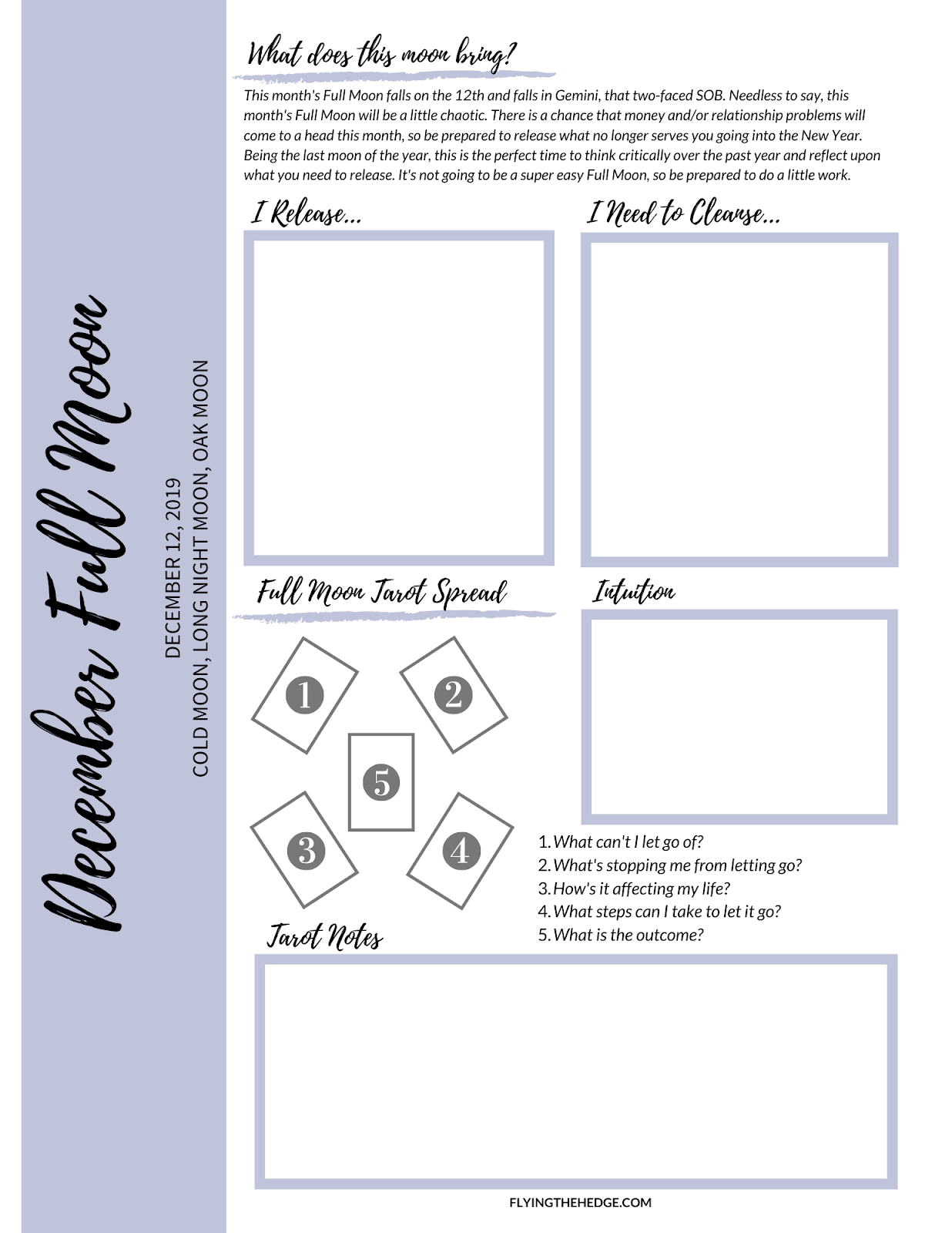 December Full Moon Worksheet
