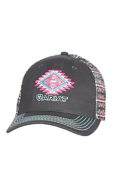 Ariat Grey Aztec Patch Velcro Back Cap  3e593b543ade