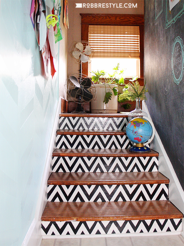DIY Chevron Painted Stairs by