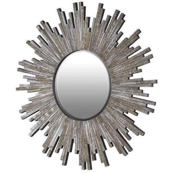 Quirky Funky Cool Modern Mosaic Sunburst Round Wall Mirror