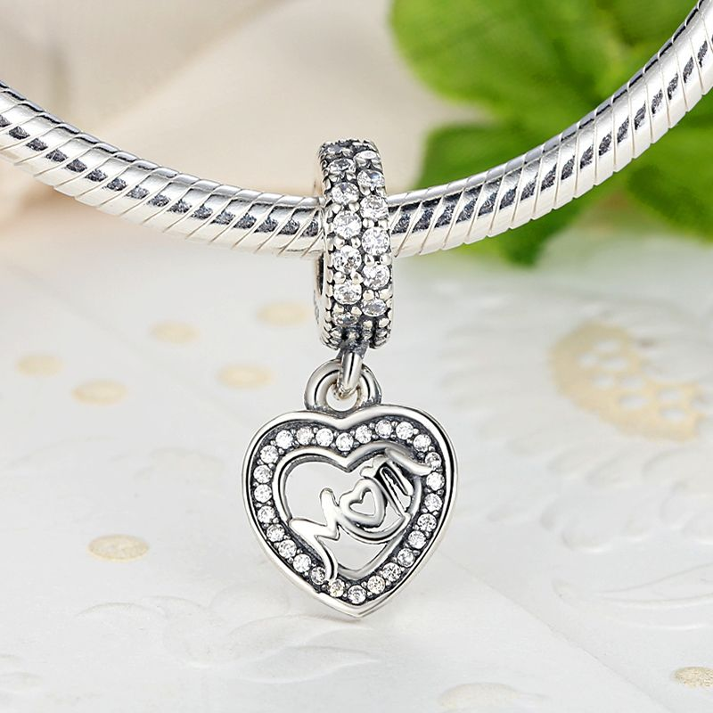 fb872c194 925 Sterling Silver Center of My Heart pendant with Clear Cubic zirconia  charm Fits Pandora Bracelet Necklace