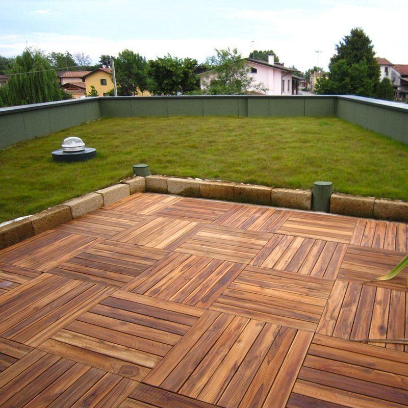 Pavimento in legno Teak per esterno e giardino. Piastrella