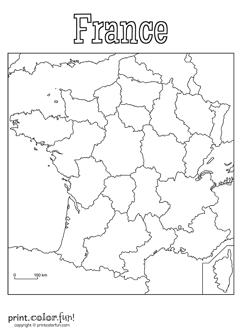 blank map of france for kids Blank Map Of France Coloring Page Print Color Fun France blank map of france for kids