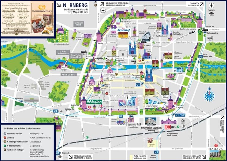 Nrnberg sightseeing map Maps Pinterest City