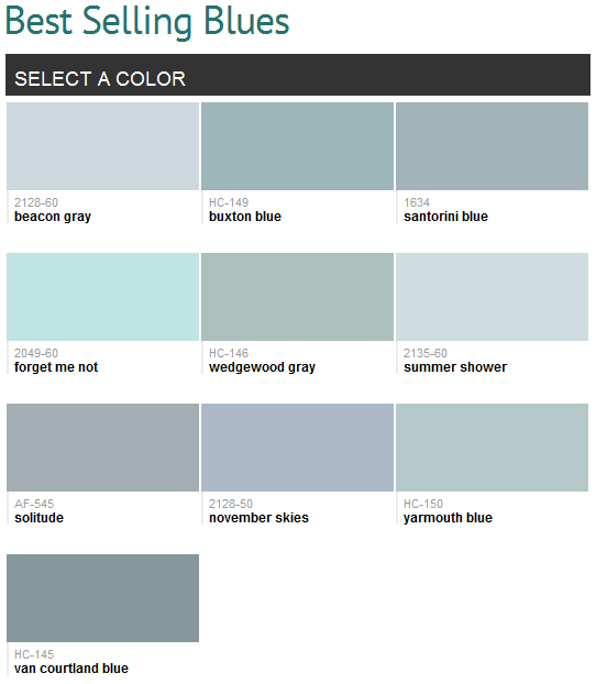 Paint ideas · Best selling blues (Benjamin Moore)... Can I use them all?