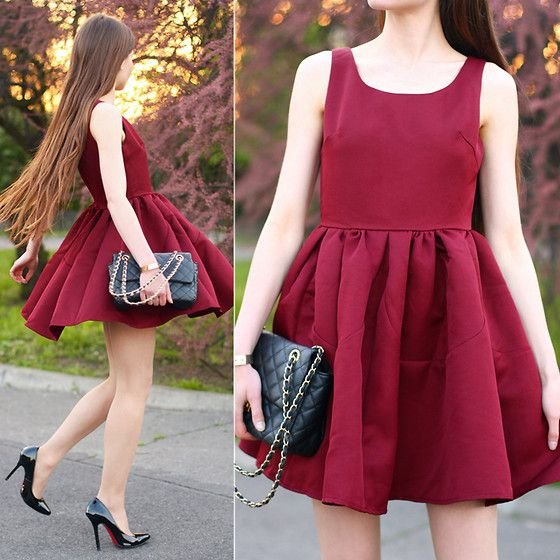 Romwe Burgundy Flared Dress, Persunmall Black Pumps