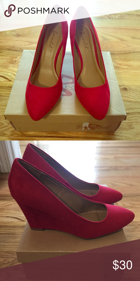 4684b6d4bf Bonnibel Modcloth Red Suede Wedges Brand new in box. size 8 ModCloth Shoes  Wedges