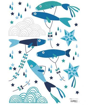 Sticker Mural Enfant Poisson Japonais Bleus Soizic