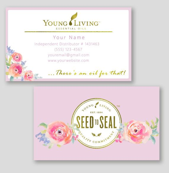 Floral young living business cards custom essential oils twin floral young living business cards custom essential oils colourmoves
