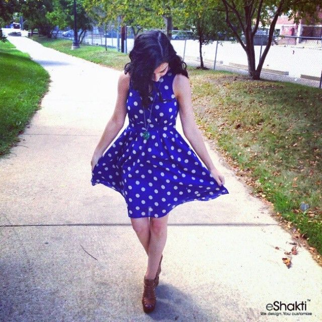 Spotted & on #trend! Michaela in eShakti's #Polka Dot Voile #Print Keyhole Dress #instapic #Featured #dress: http://bit.ly/1v0gSFH