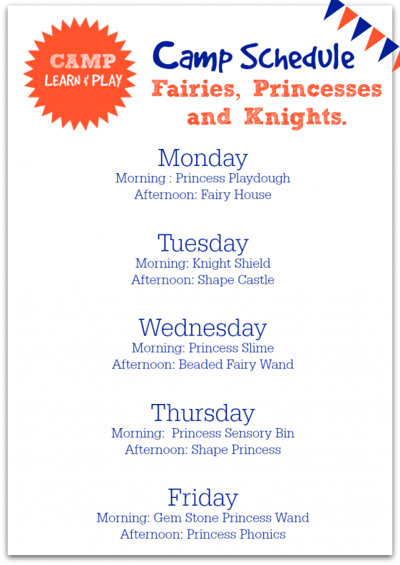Camp Learn And Play Princess Week At A Glance Activities For Summer