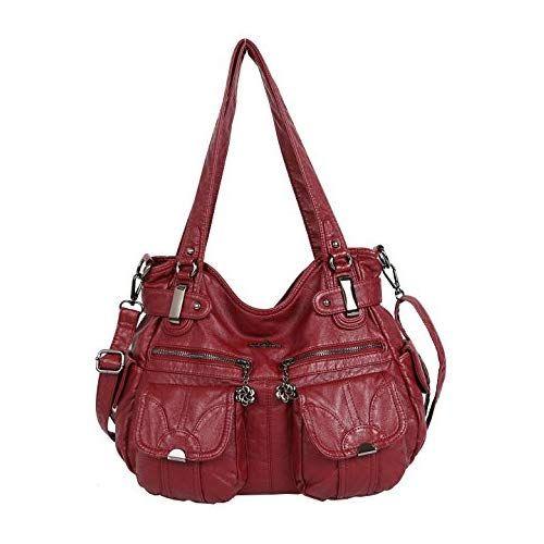 23c1c1ae797d angelkiss Women s Handbag Large Double Zipper Multi Pocket Washed Shoulder  Bag Designer Handbags for Women …
