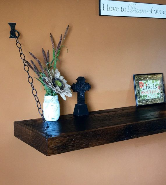Rustic Industrial Floating Shelf Made From Reclaimed