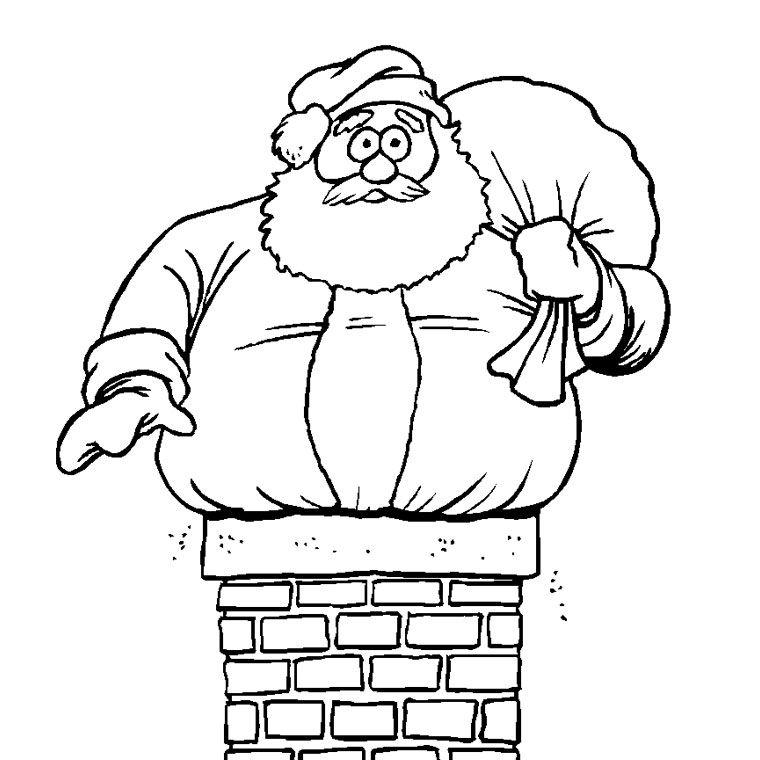 Coloriage Père Noël Cheminée A Imprimer Gratuit | Coloriage noel