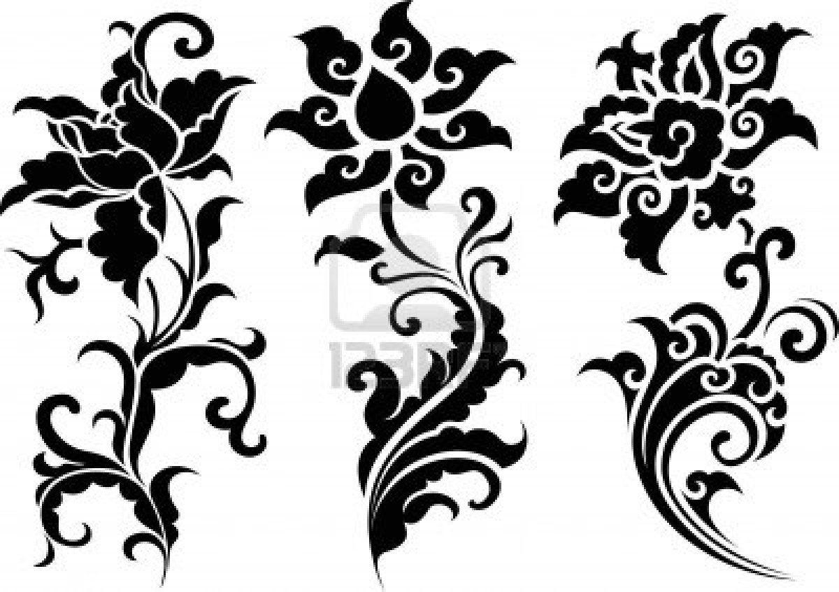 Line Art Flower Design : Oriental flower design patterns motifs ornaments