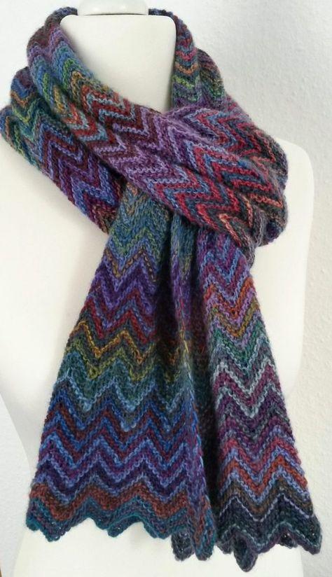 Free Knitting Pattern Zick Zack Scarf   Knitting   Pinterest   Chal ...