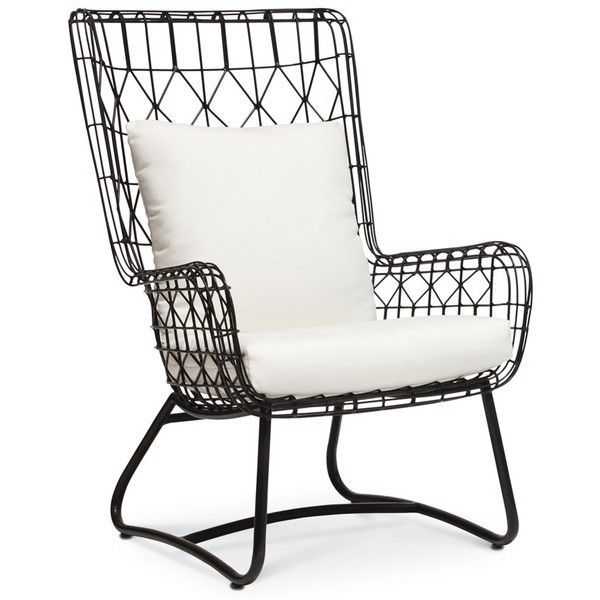 Palecek Capri Black Outdoor Wing Chair found on Polyvore featuring