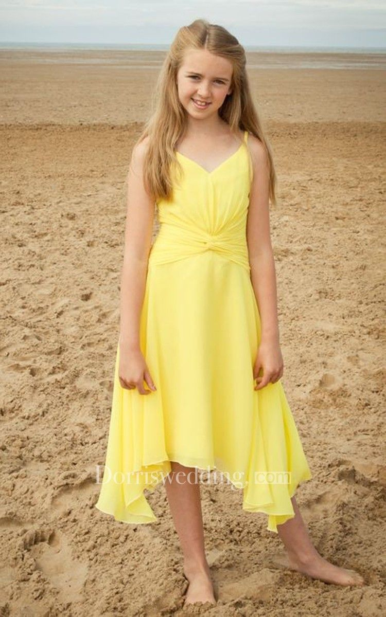 Stylish spaghetti strap vneck highlow chiffon dress with ruching