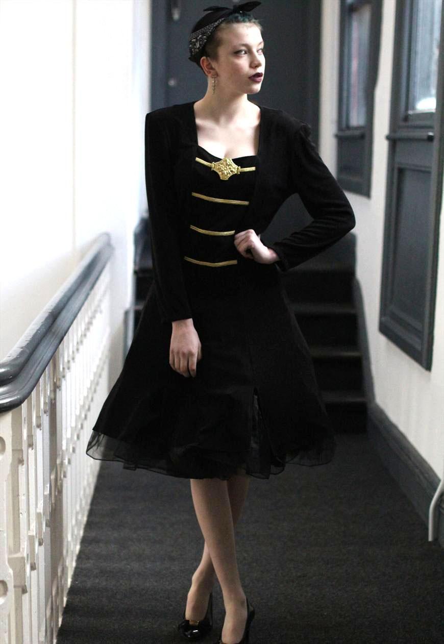us vintage black gold dress full curcle midi dress pretty