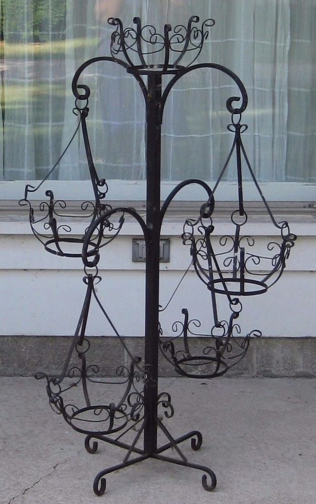 "Vintage Black Wrought Iron Plant Stand Patio/Garden 30"" x ... on Iron Stand Ideas  id=47802"