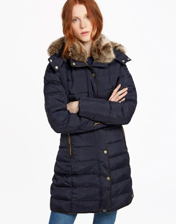 Joules Womens Gosway Flattering Fit Hooded Quilted Coat