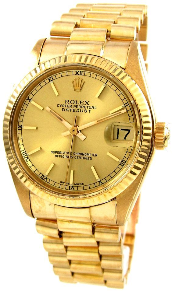 f59a8ba9188 Rolex Oyster Presidential Date Just 6827 Gold with Roman numerals ...
