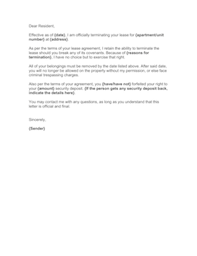 This Letter Will Inform Your Tenant That HisHer Lease Is
