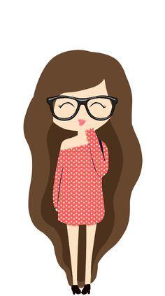 Resultado De Imagen Para Nina Kawaii Animada Con Gafas Cute Drawings Cute Cartoon Girl Kawaii Drawings