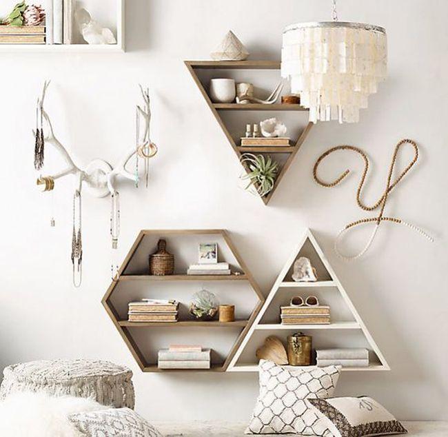 Sechseckiges Regal aus Metall H 45 cm COPPER Pastel Spaces - dekorative regale inneneinrichtung