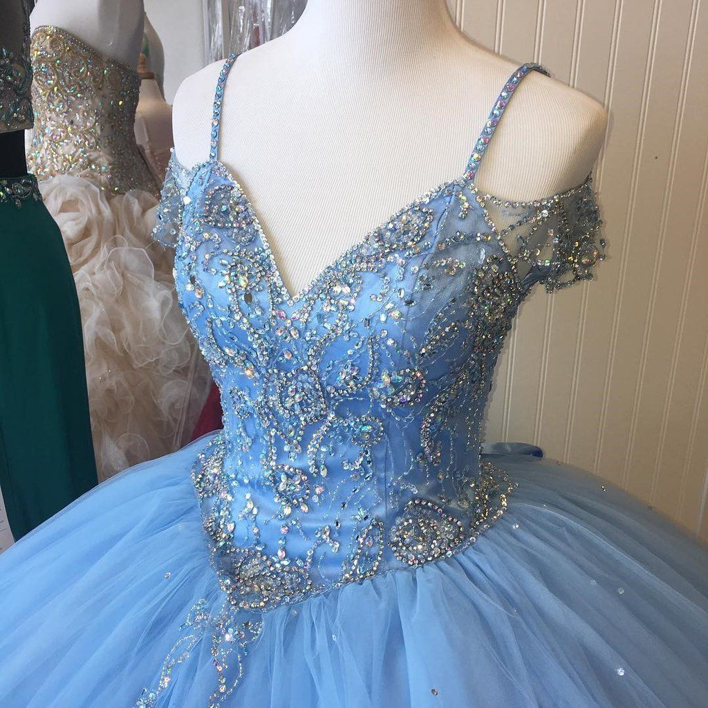 Off The Shoulder Crystal Beaded Ball Gowns Quinceanera ...