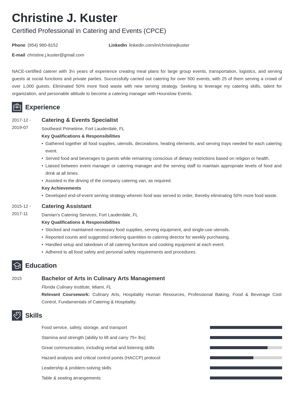 catering resume example template newcast in 2020 Resume