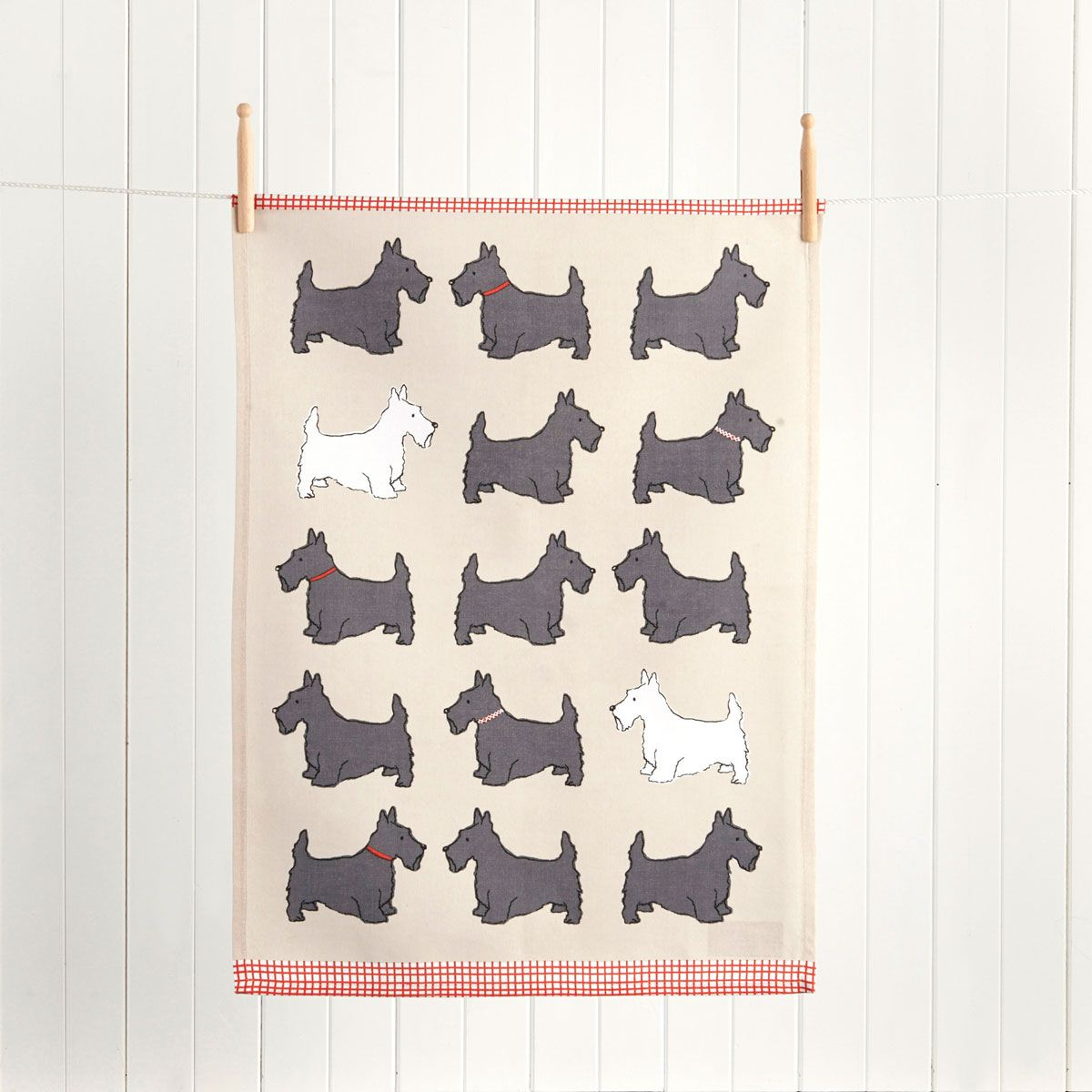 SCOTTY DOG TEA TOWEL GREY/RED/WHITE Gray towels, Linen