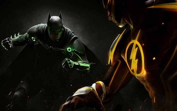 Download Wallpapers Injustice 2 2017 4k New Games Batman Superheroes Flash Dc Comics Besthqwallpapers Com Dc Comics Batman Super Kahramanlar