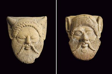 A campanian acheloos mask applique in the heart of an art