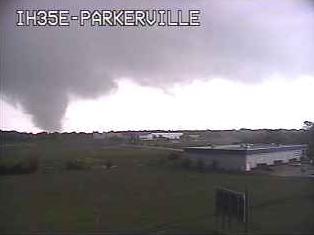 Tornado seen on the I-35 Parkerville, Texas webcam