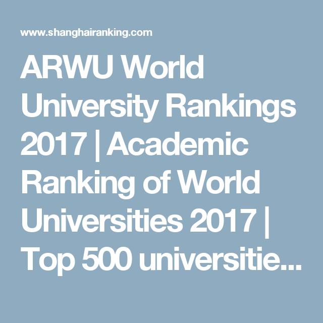ARWU World University Rankings 2017   Academic Ranking of