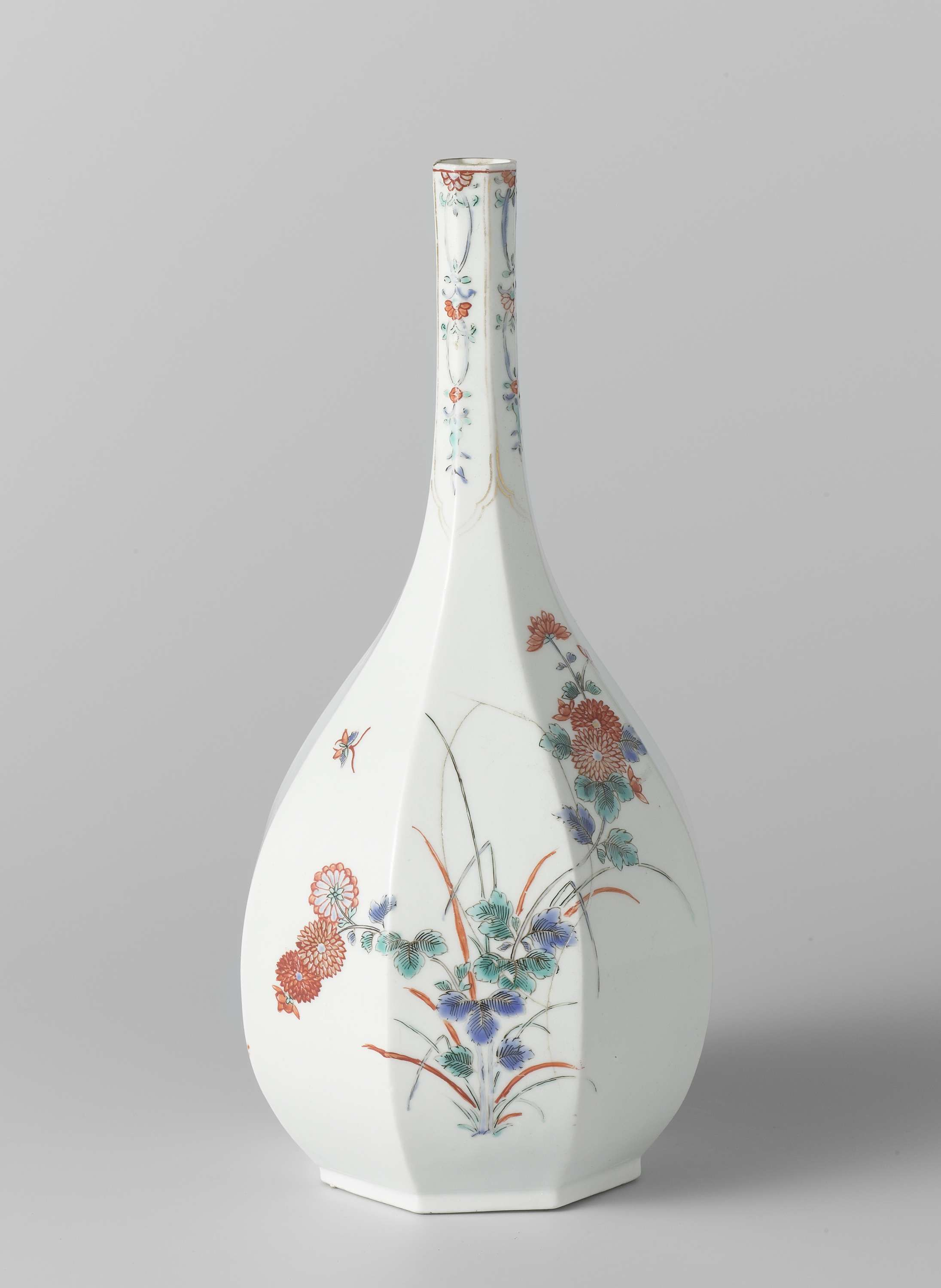 Bottle octagonal with long neck polychrome painted with ominaeshi