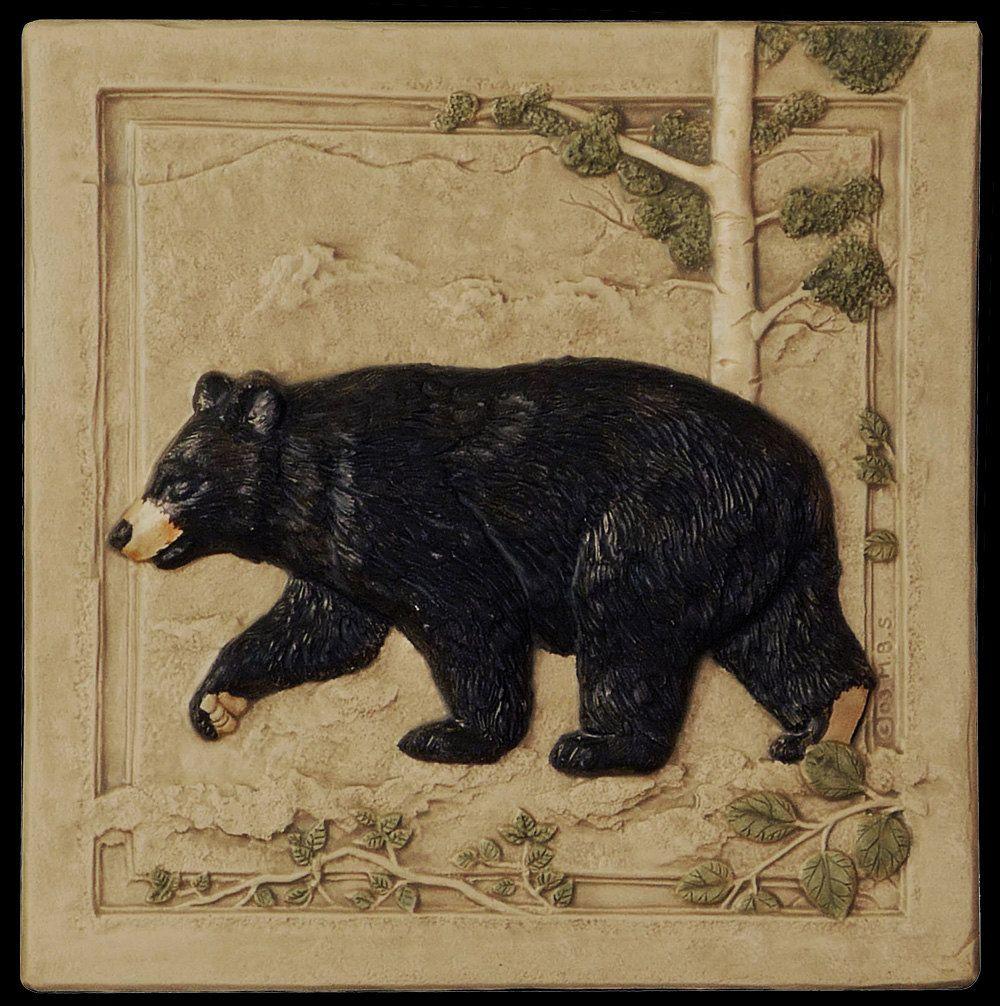 Black bear left art tile home decor ceramic tile 6 x 6 inches black bear left art tile home decor ceramic tile 6 x 6 dailygadgetfo Gallery
