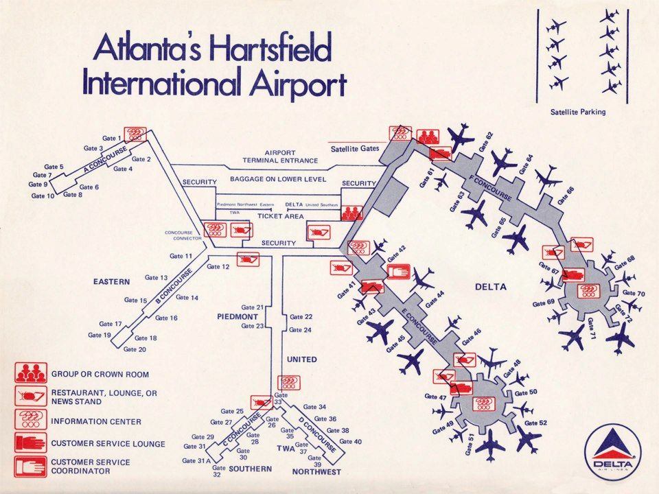 Late 70's or early 80's map of ATL airport  Amazing how it