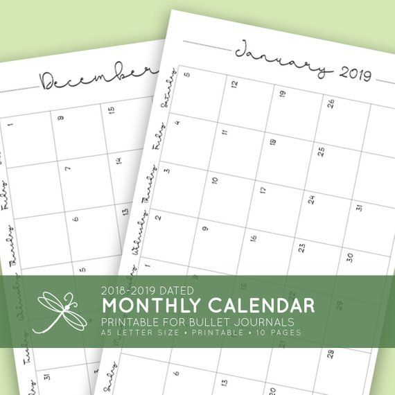 image about Bullet Journal Monthly Calendar Printable identify 2019 Month-to-month Printable Calendar for Bullet Magazine