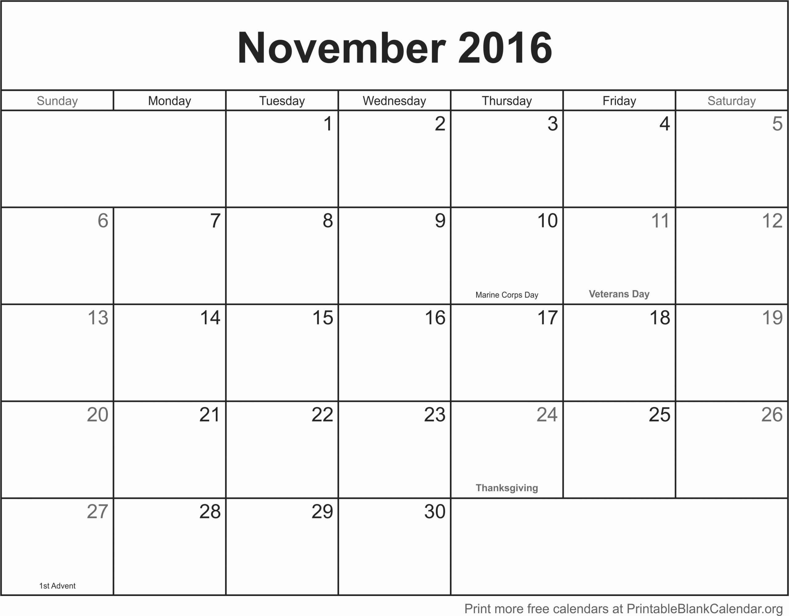 Printable 2016 Monthly Calendar Template Unique November 2016
