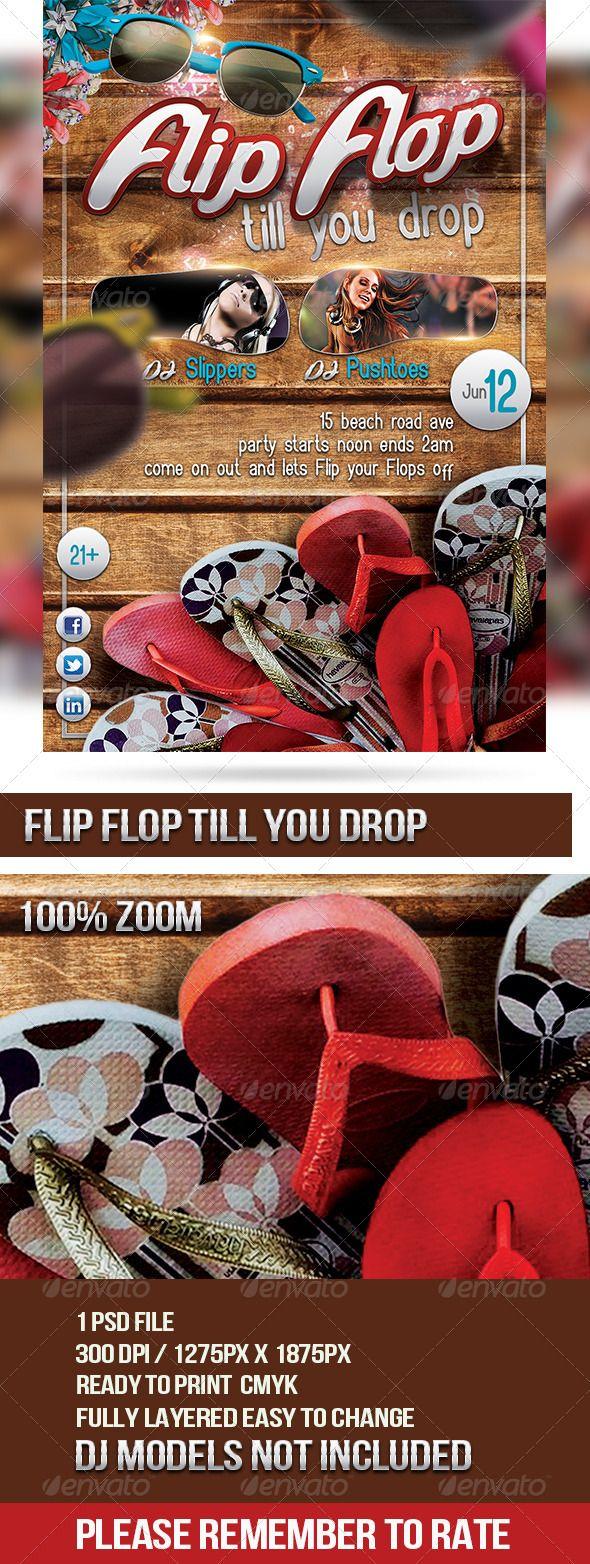 Flip Flop Till You Drop Print templates, Creative design