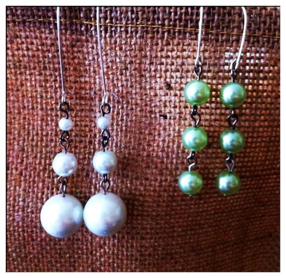 Two pairs of glass pearl drops in white and green by Gazerie, $10.00
